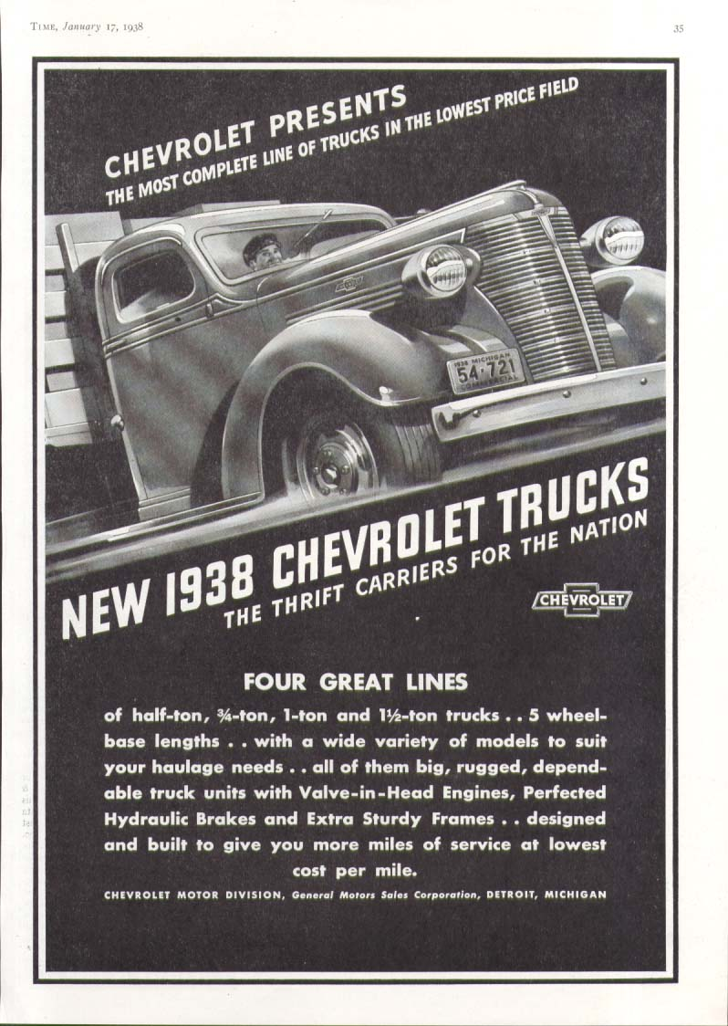 Most Complete Line of Trucks Chevrolet Stake Body Truck ad 1938