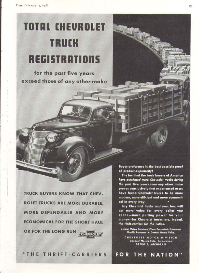 Total Registrations exceed any other make Chevrolet Truck Stake Body ad 1938