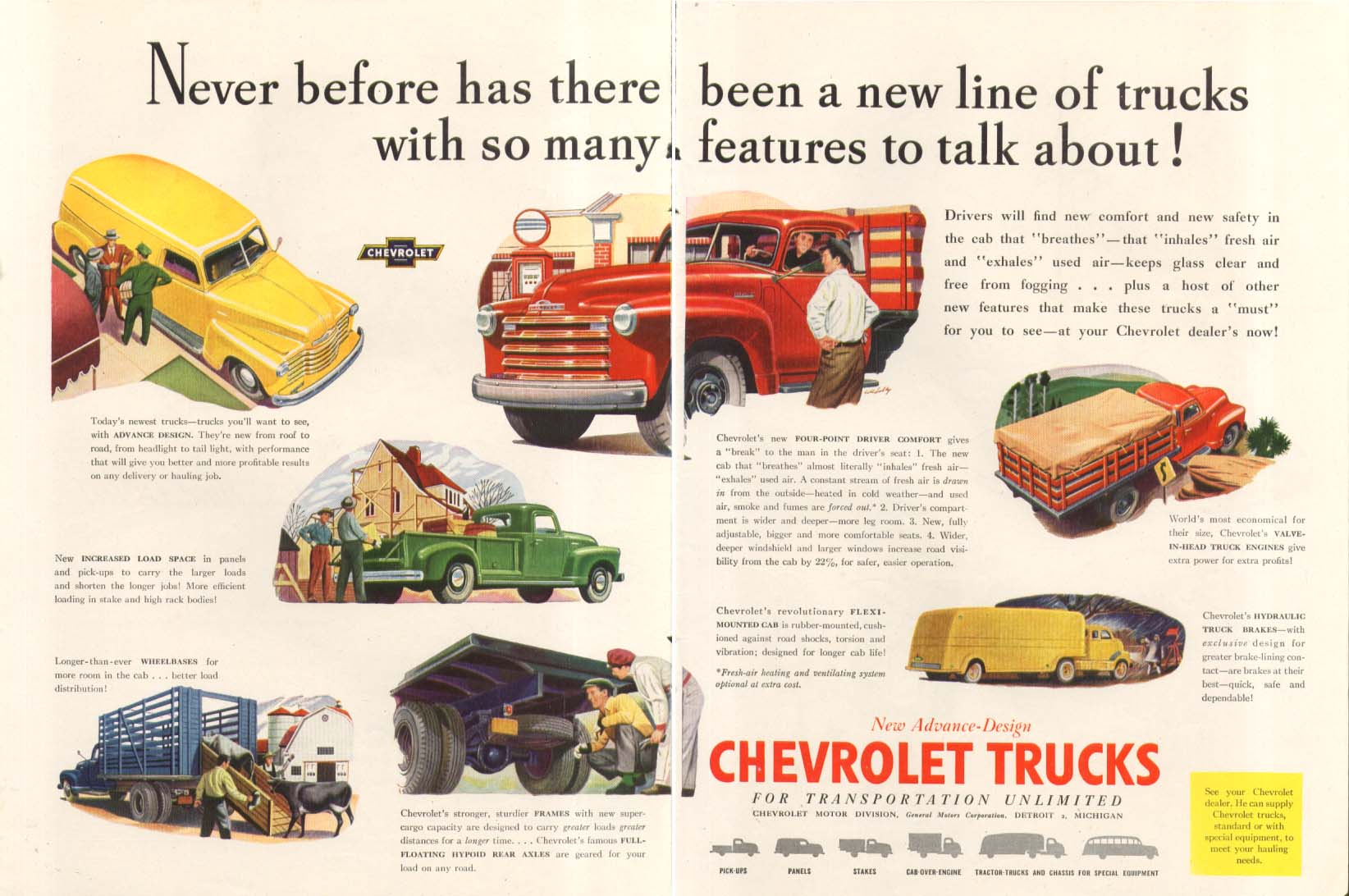 Never before a line with so many features Chevrolet Pick-Up Van + Truck ad 1947