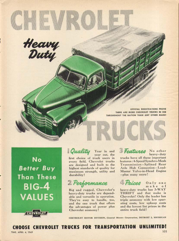 Chevrolet Heavy Duty Truck Stake Body ad 1949