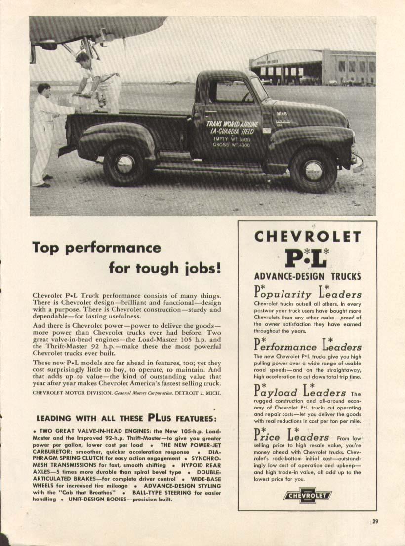 Top performance for tough jobs Chevrolet TWA LaGuardia Pick-up Truck ad 1950