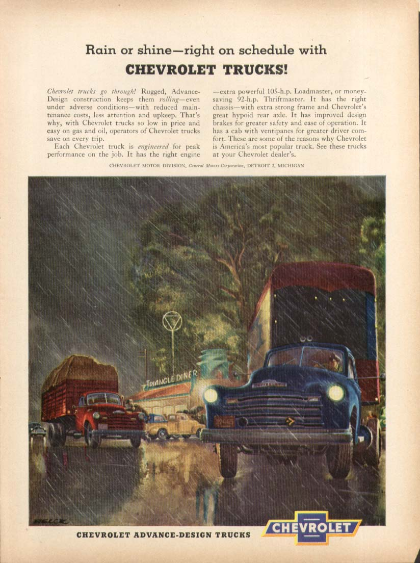 Rain or shine on schedule Triangle Diner Chevrolet Truck ad 1951 Peter Helck art