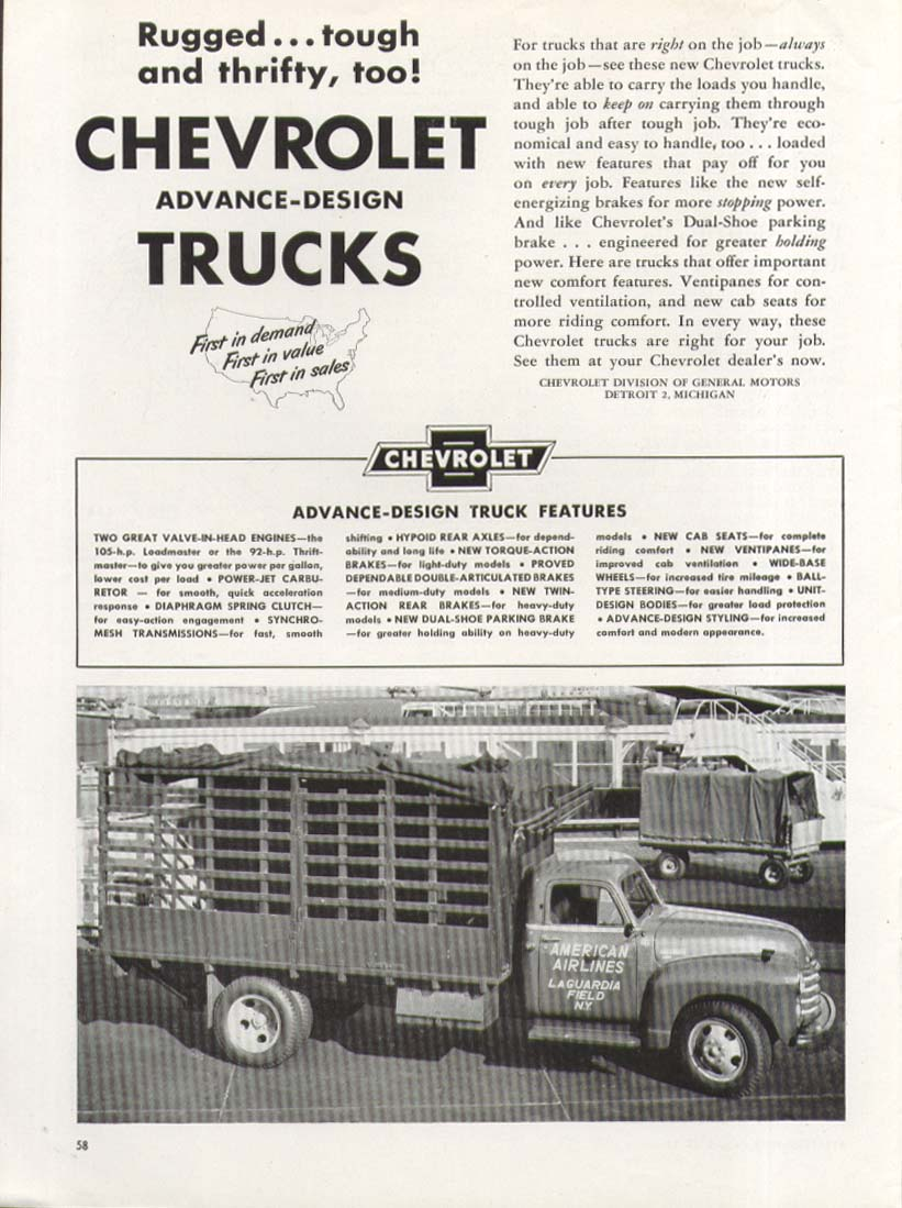 Rugged Tough & Thrifty Chevrolet American Airlines Stake Body Truck ad 1951