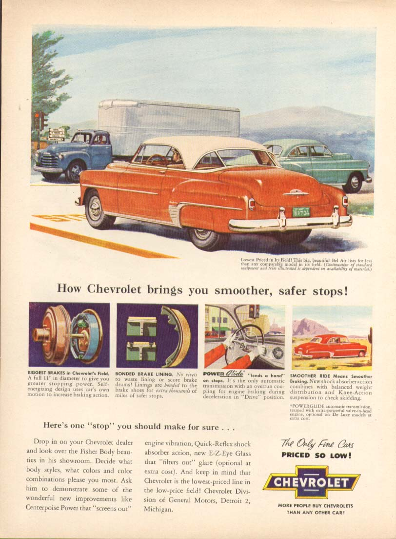 Chevrolet Bel Air smoother safer stops ad 1952