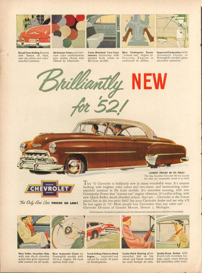 Chevrolet Bel Air Brilliantly New for '52 ad 1952