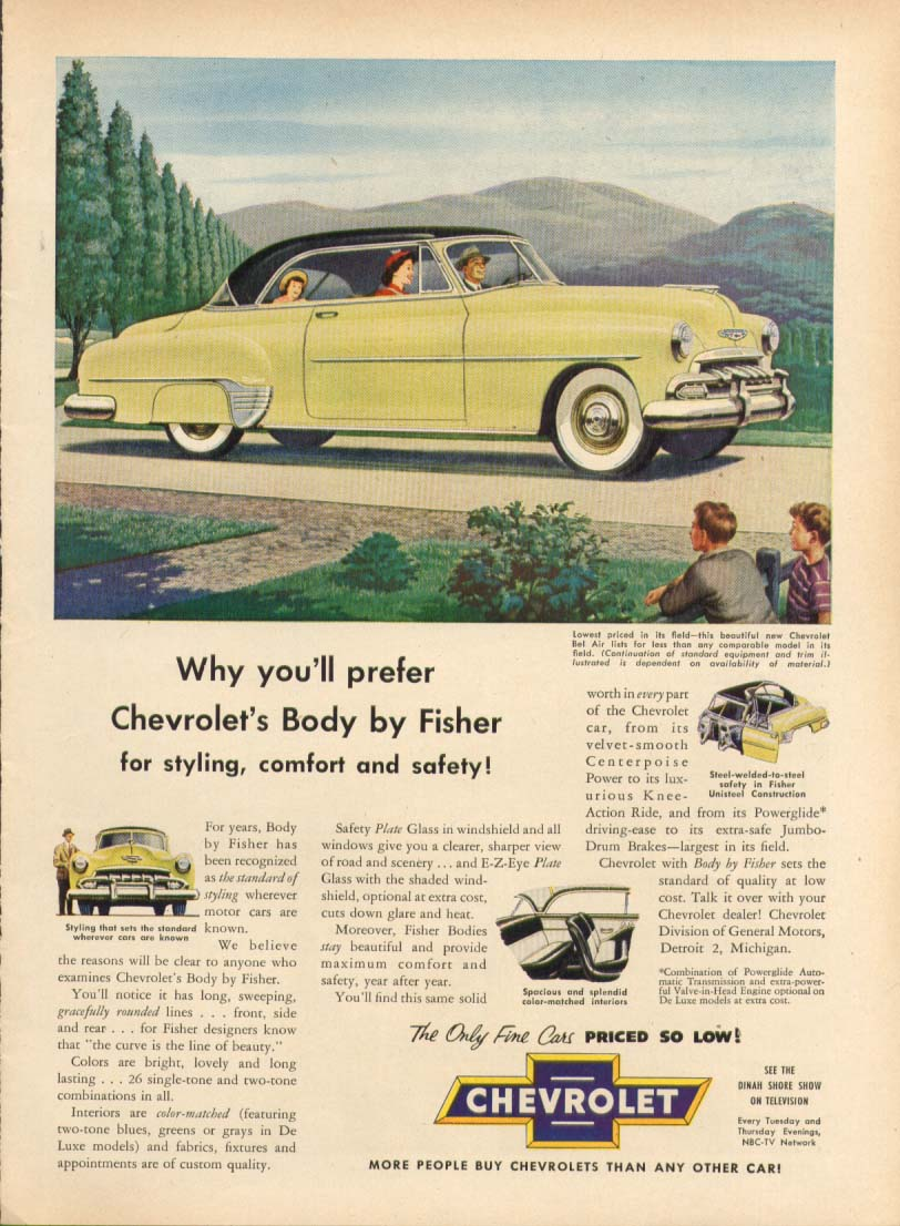 Chevrolet Bel Air Body by Fisher styling ad 1952