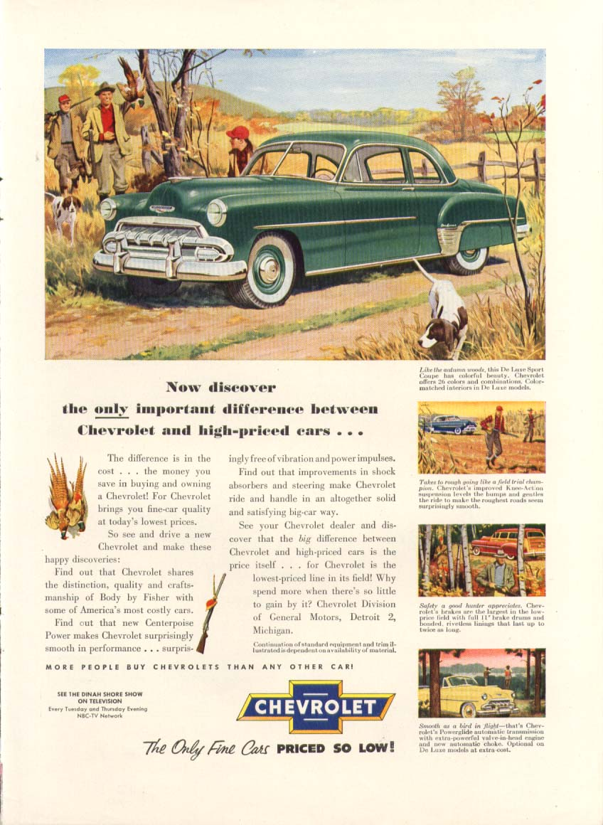 Chevrolet De Luxe Sport Coupe pheasant hunting ad 1952