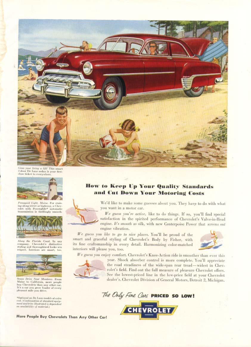 Chevrolet De Luxe 2-door sedan beach ad 1952 New Yorker
