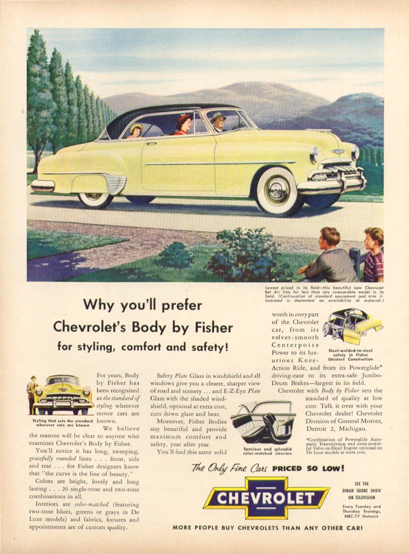 Chevrolet Bel Air Body by Fisher ad 1952