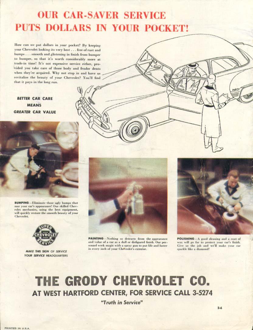 Chevrolet Dealer Grody West Hartford ad 1953