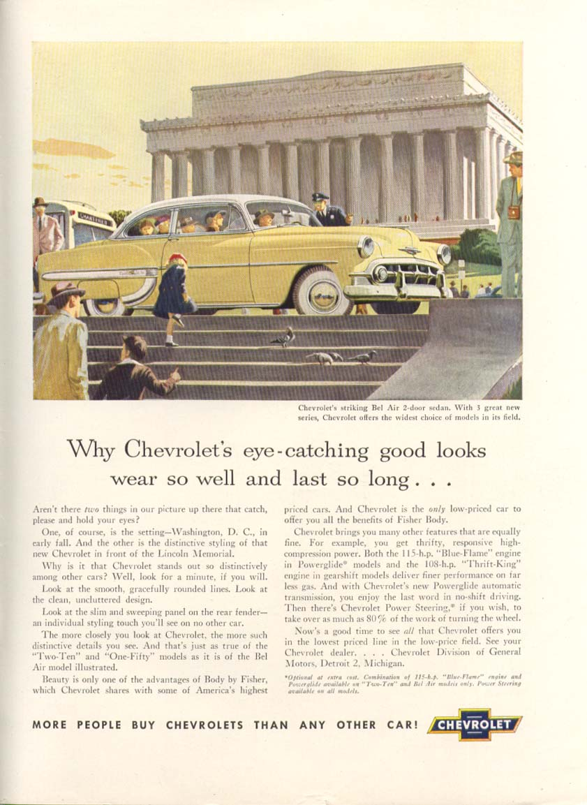 Chevrolet Bel Air good looks Lincoln Memorial ad 1953 New Yorker