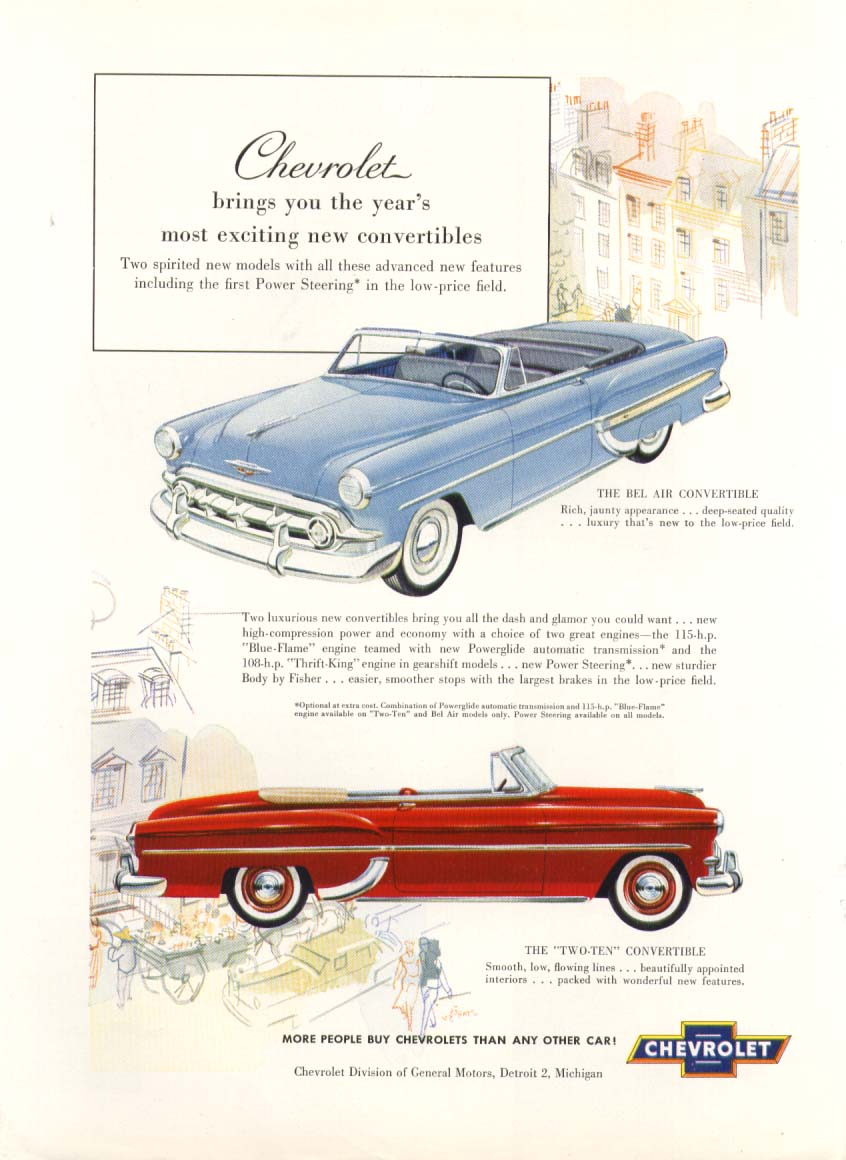 Chevrolet exciting convertibles Bel Air Two-Ten ad 1953