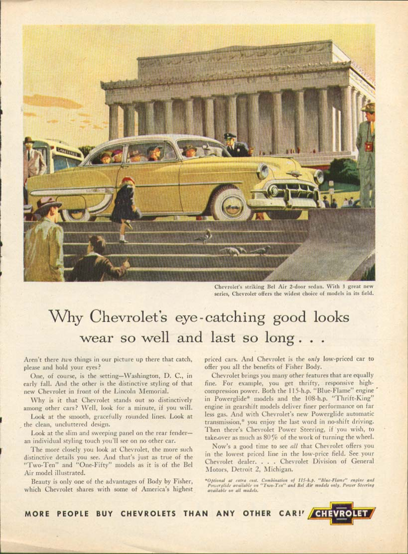 Chevrolet Bel Air good looks Lincoln Memorial ad 1953 Town Journal