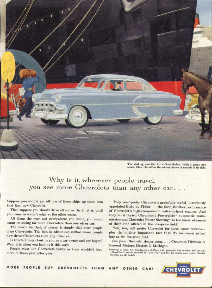 Chevrolet Bel Air see more than any other car ad 1953 American Magazine