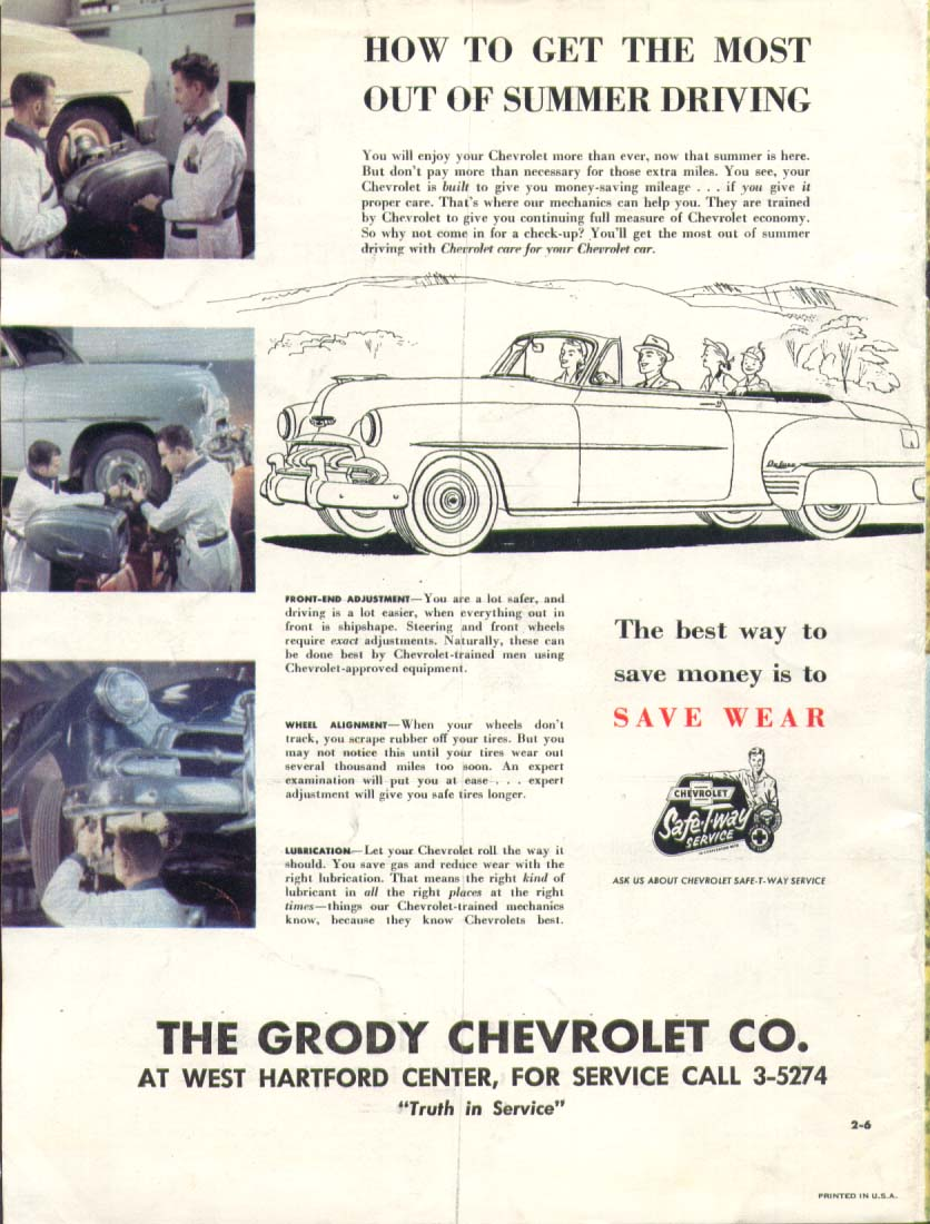 Chevrolet convertible Grody West Hartford ad 1953