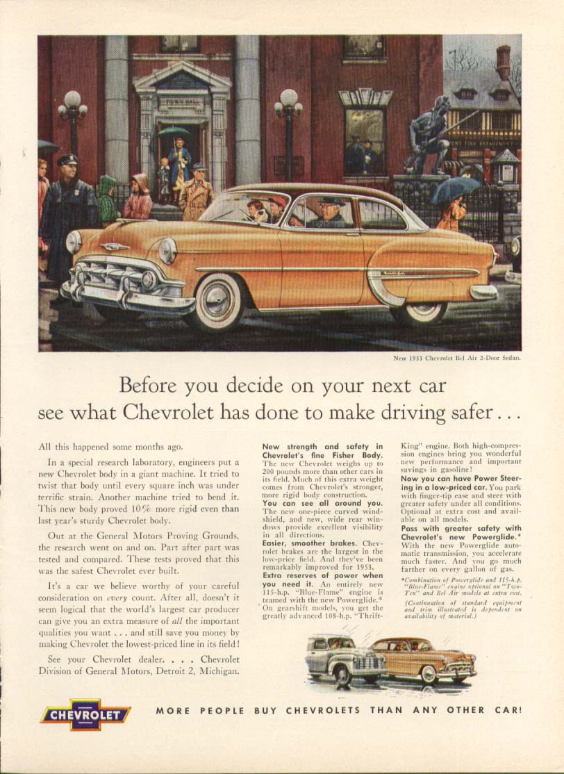 Chevrolet Bel Air safer driving ad 1953