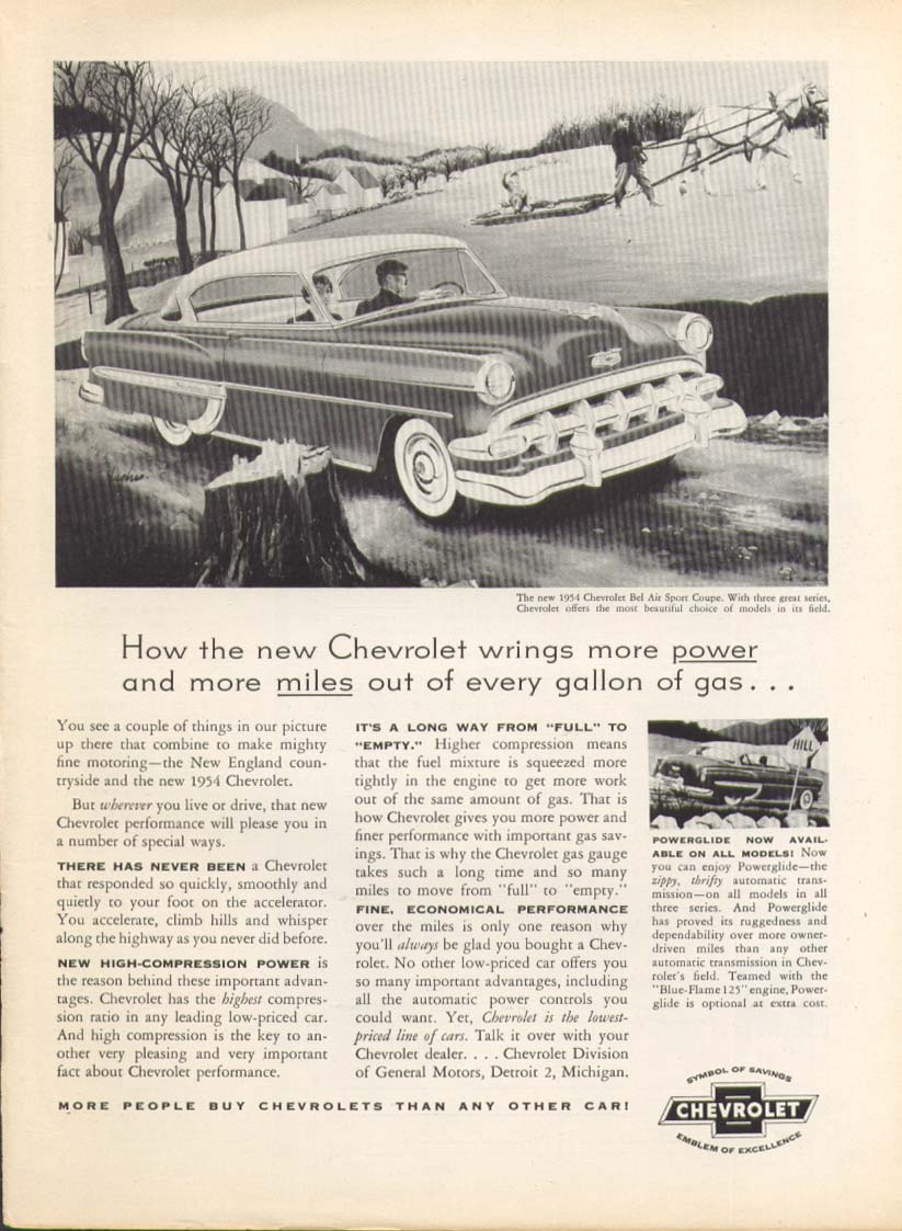 Chevrolet Bel Air wrings more power & miles ad 1954 #1