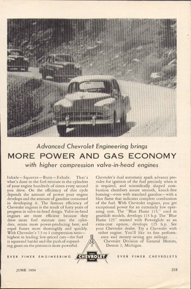 Chevrolet Advanced Engineering More Power ad 1954
