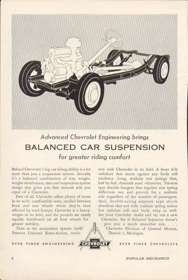 Chevrolet Engineering Balanced Car Suspension ad 1954