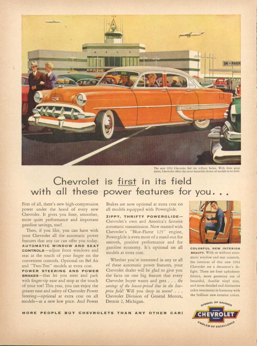 Chevrolet Bel Air first in its field features ad 1954