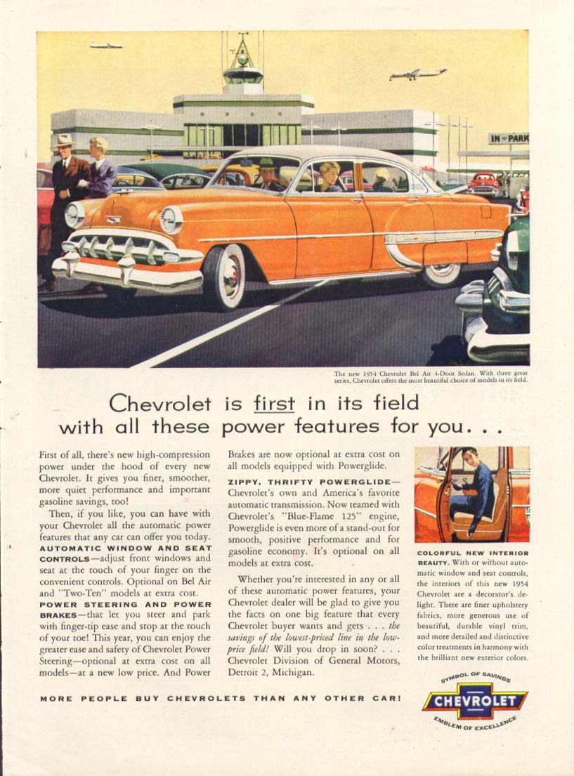 Chevrolet Bel Air first with power features ad 1954 Time