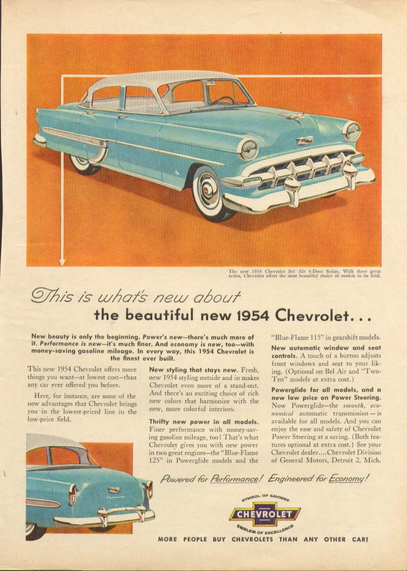 Chevrolet Bel Air Sedan This is what's new ad 1954 True