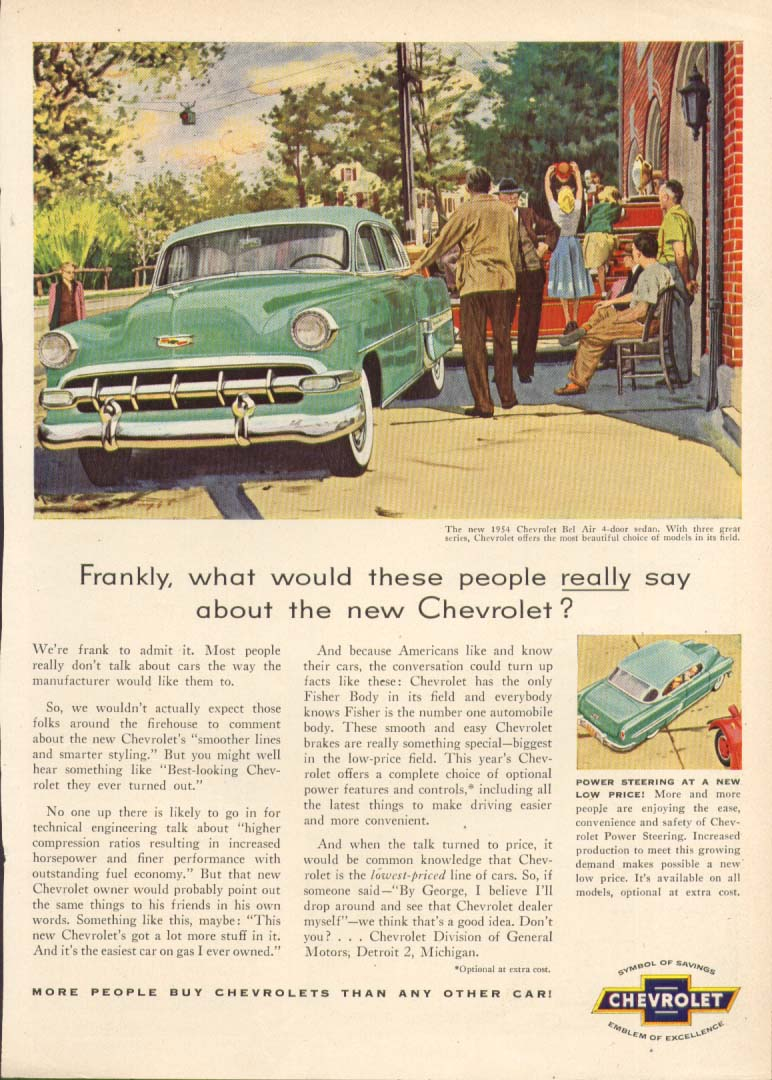 Chevrolet Bel Air what these people really say ad 1954