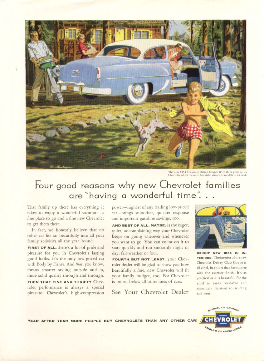 Chevrolet Delray Coupe having a wonderful time ad 1954 New Yorker