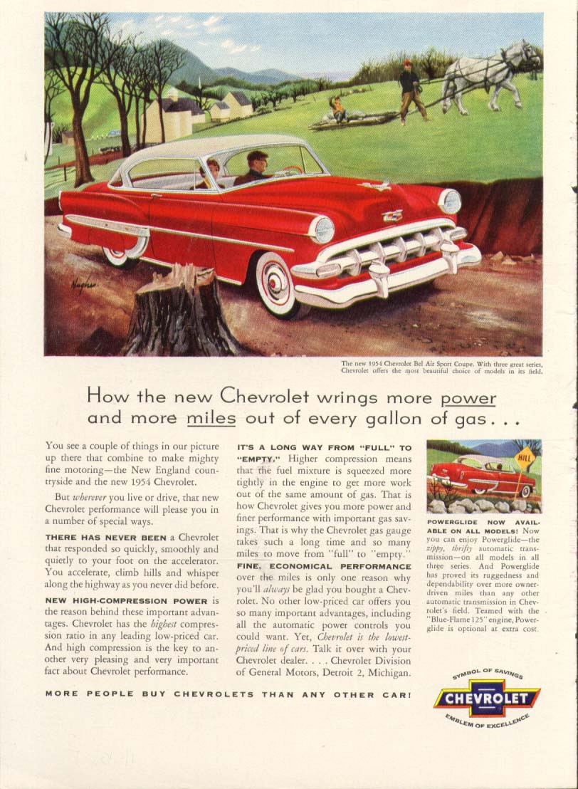 Chevrolet Bel Air wrings more power & miles ad 1954 #3