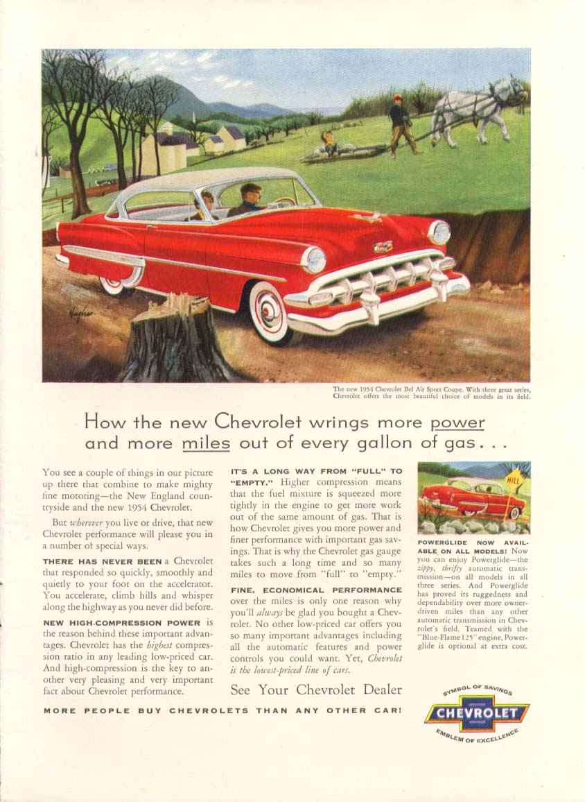 Chevrolet Bel Air wrings more power & miles ad 1954 #2
