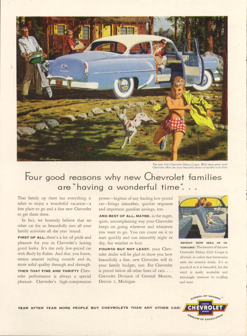 Chevrolet Delray Coupe having a wonderful time ad 1954 Time