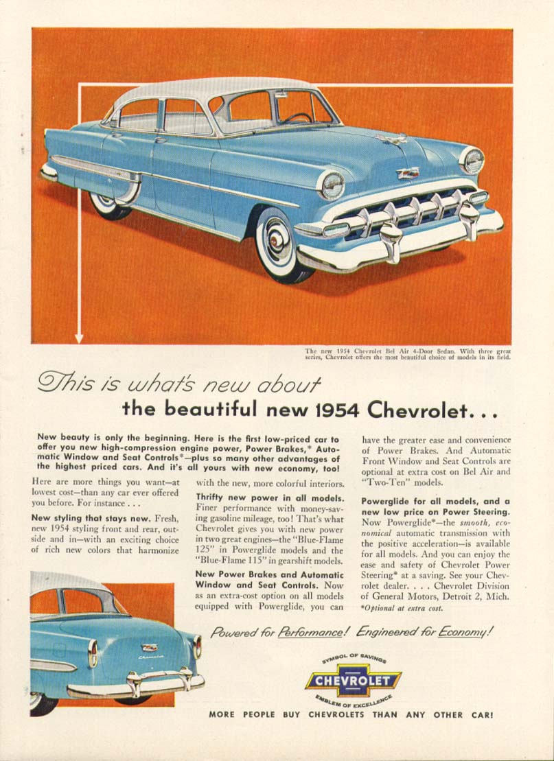 Chevrolet Bel Air what's new about beautiful... ad 1954