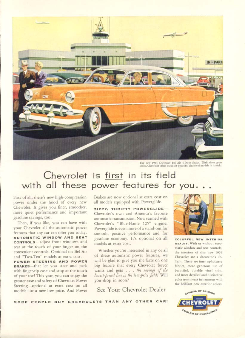 Chevrolet Bel Air first with power features ad 1954 New Yorker