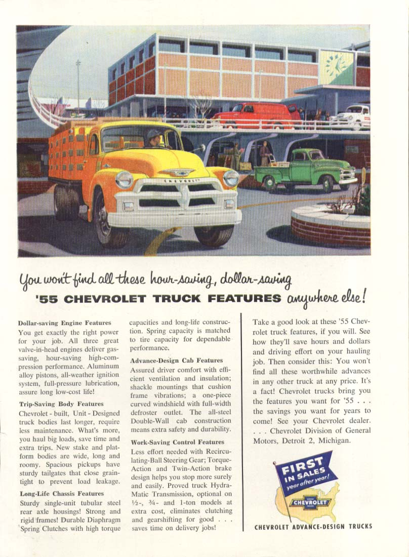You won't find these features anywhere else Chevrolet Stake Body Pick-up ad 1955