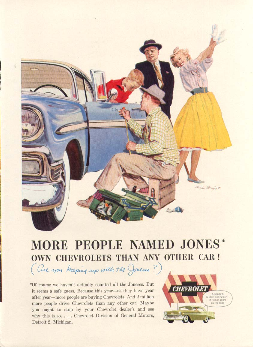 Chevrolet Bel Air keeping up with the Joneses ad 1956