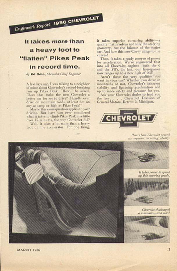 Chevrolet Engineer's Report Flatten Pike's Peak ad 1956