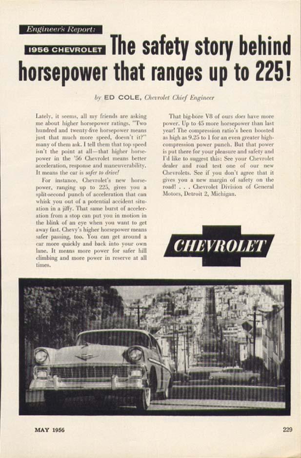 Chevrolet Engineer's Report 225 Horsepower ad 1956