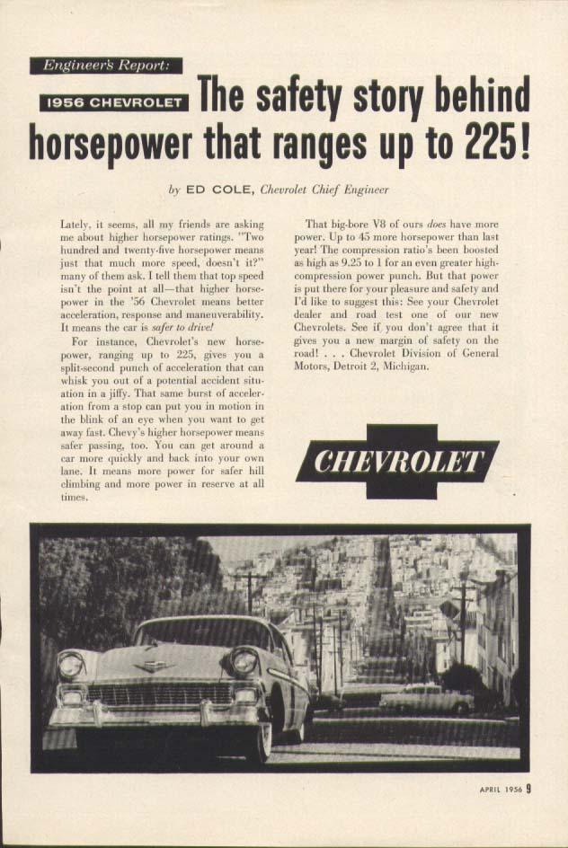 Chevrolet Engineer's Report 225 Horsepower ad 1956 Popular Mechanics