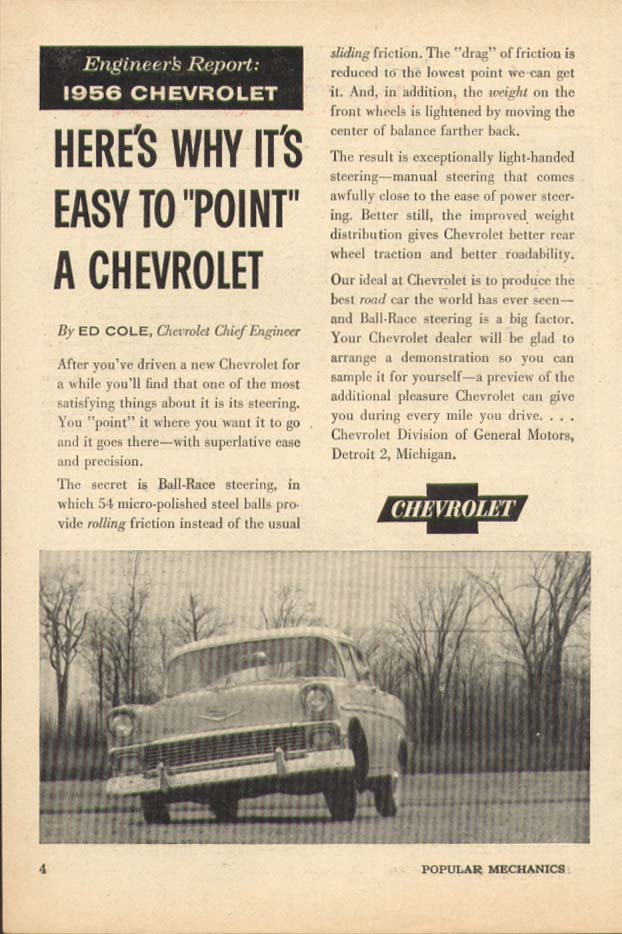 Chevrolet Engineer's Report Easy to Point ad 1956