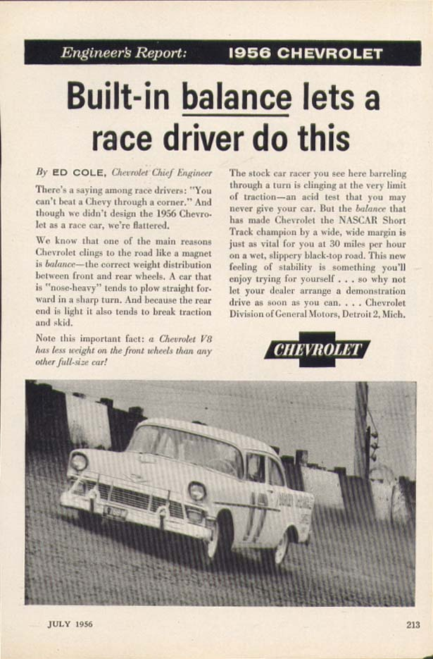 Chevrolet Engineer's Report Built-in balance ad 1956