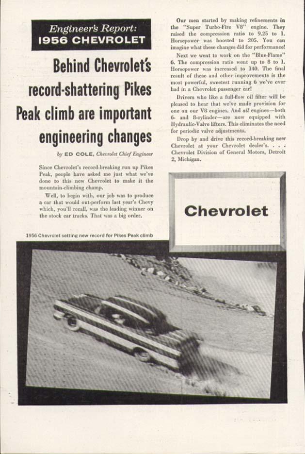 Chevrolet Engineer's Report Pikes Peak climb ad 1956