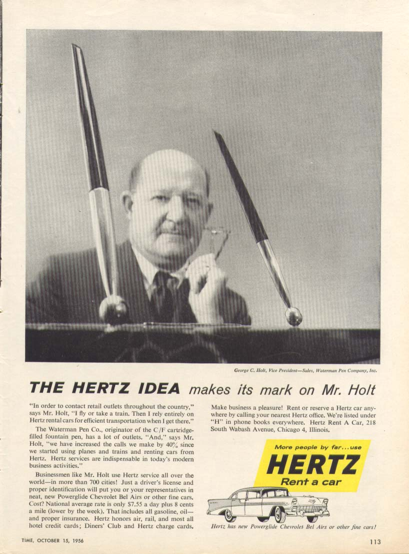 Chevrolet Bel Air Hertz George Holt Pens ad 1956