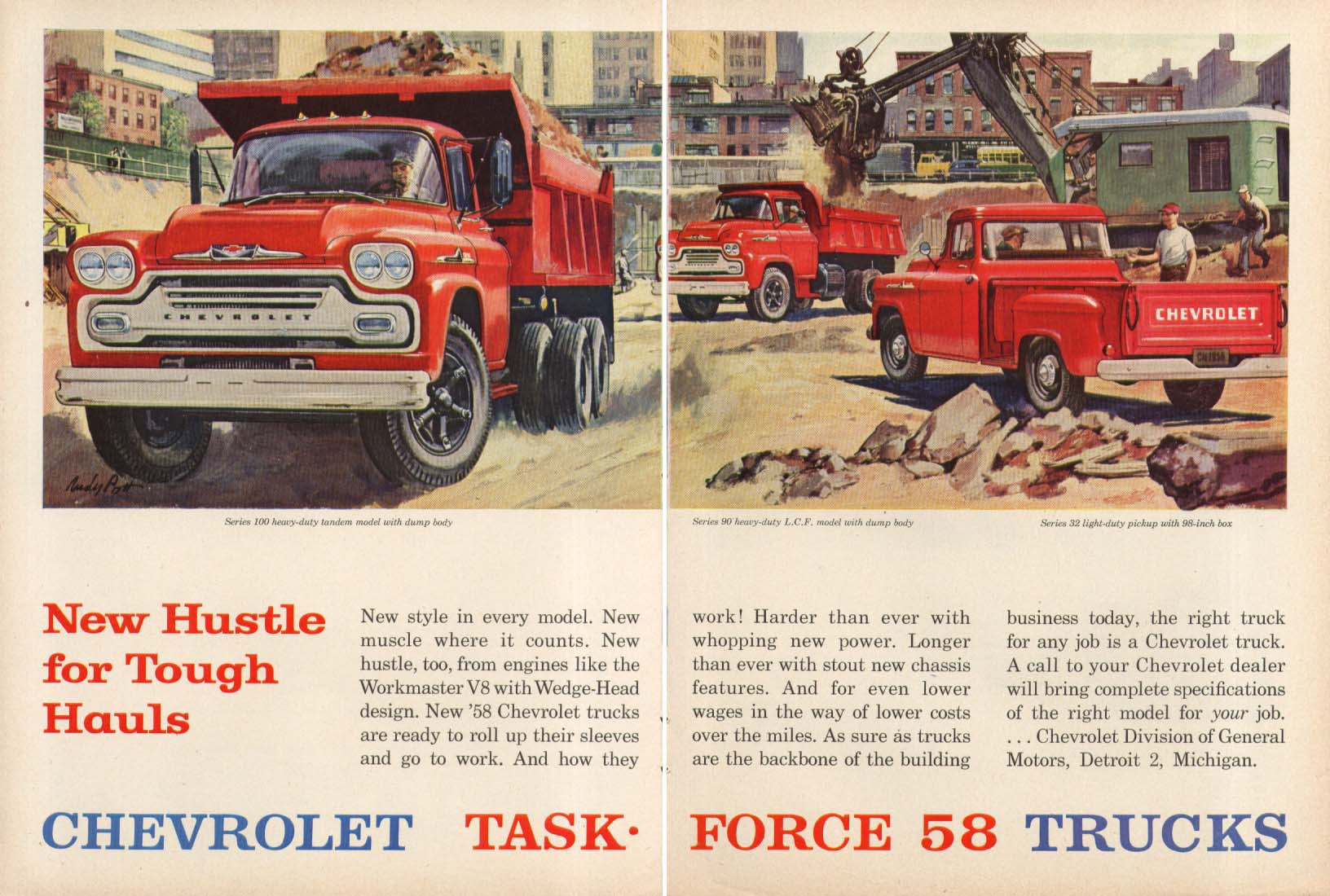 New Hustle for Tough Hauls Chevrolet Dump & Pick-up Truck ad 1958 Peter Helck
