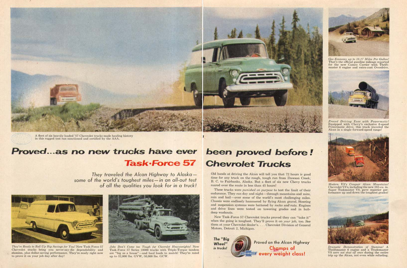Proved as no new trucks have ever been proved Chevrolet Truck ad 1957