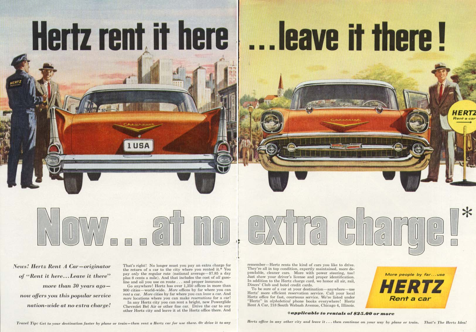 Chevrolet Bel Air Hertz rent here leave there ad 1957