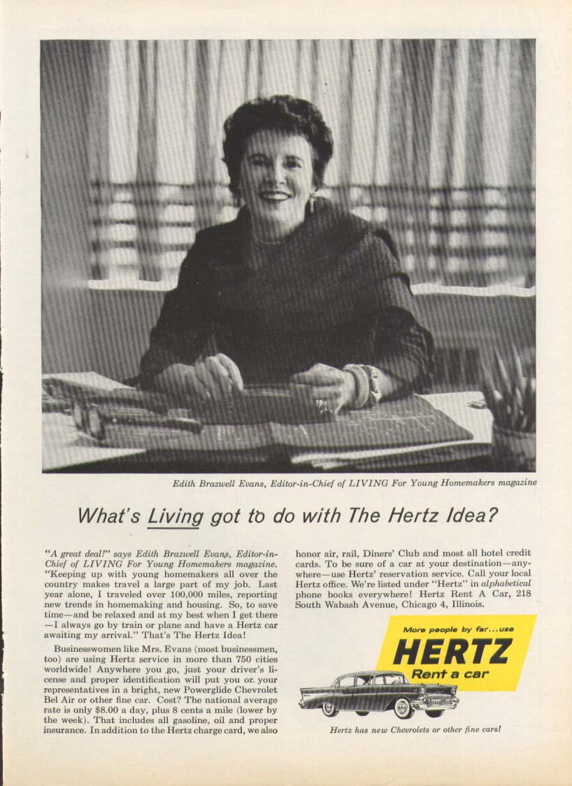 Chevrolet Bel Air Edith Brazwell Evans Living ad 1957 US News