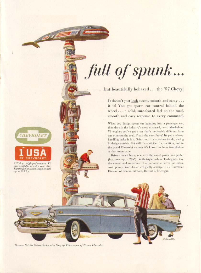 Chevrolet Bel Air full of spunk totem pole ad 1957