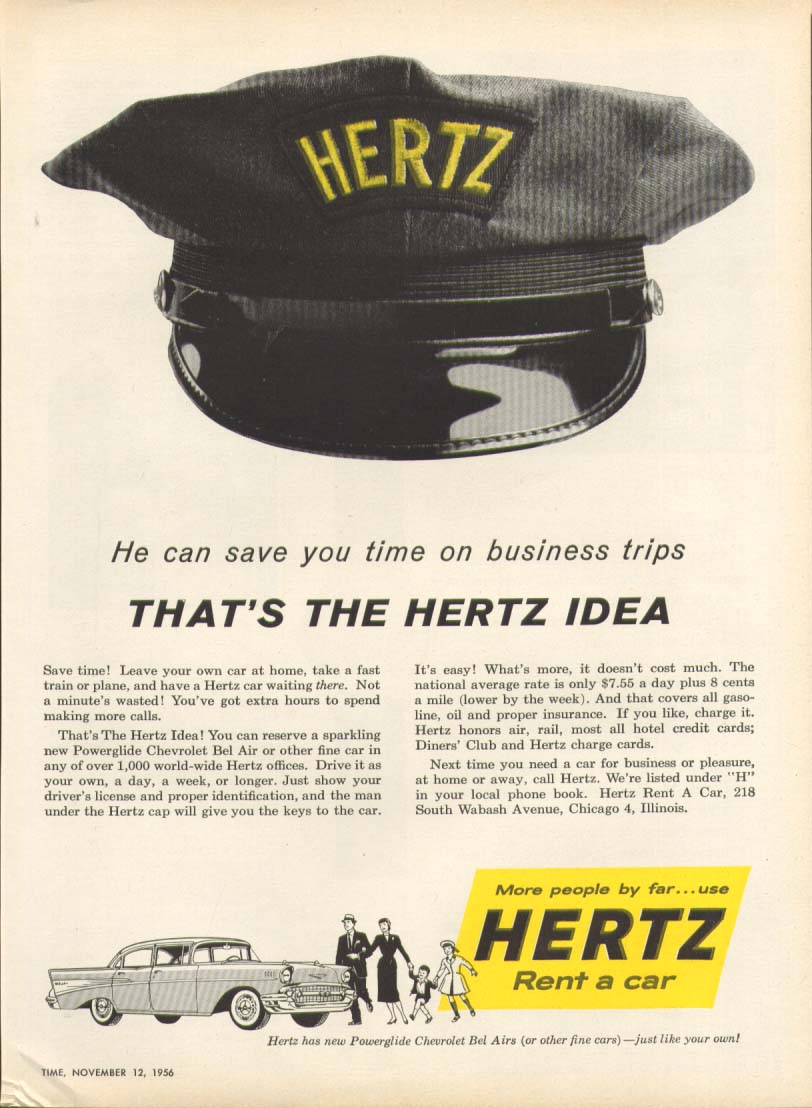 Chevrolet Bel Air Hertz can save you time ad 1957