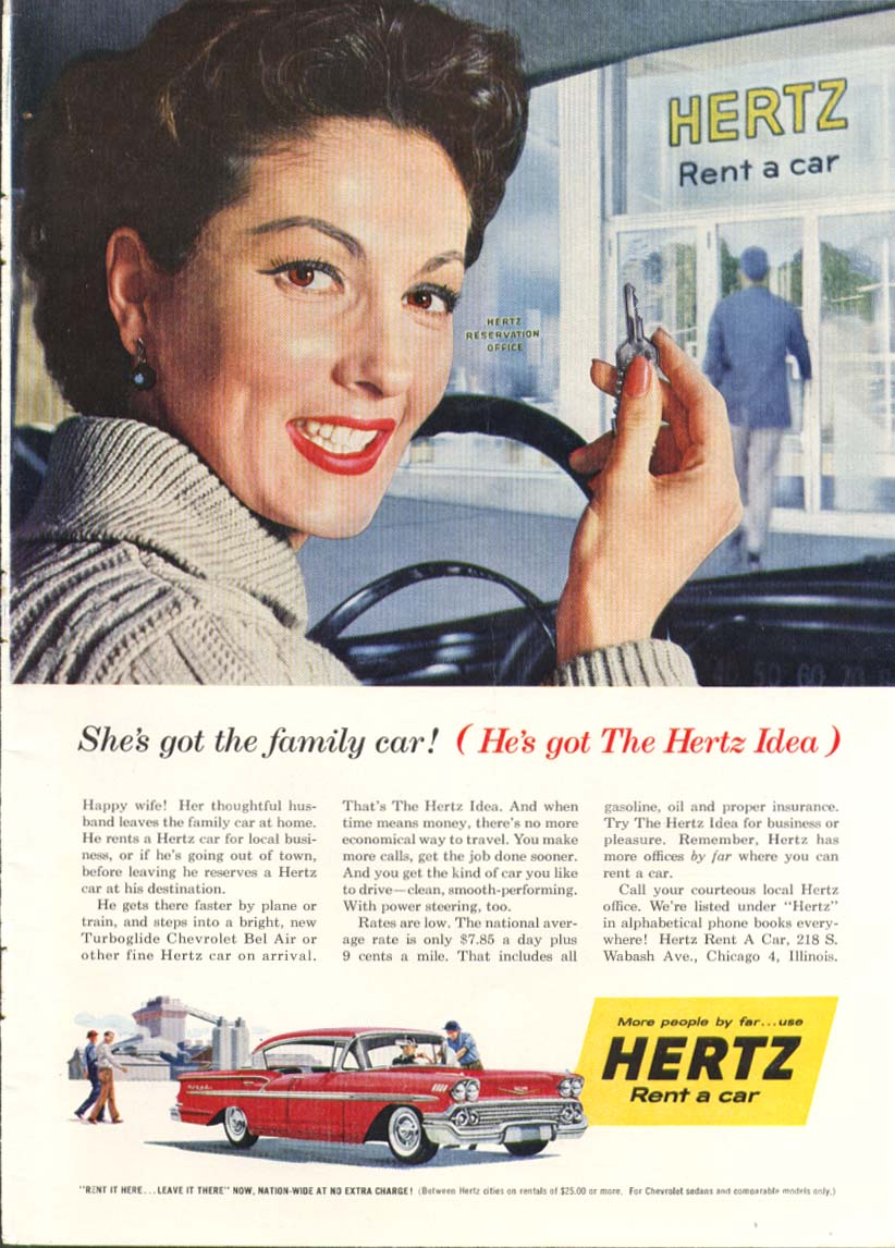 Chevrolet Bel Air Family Car Hertz Idea ad 1958 Sports Illustrated