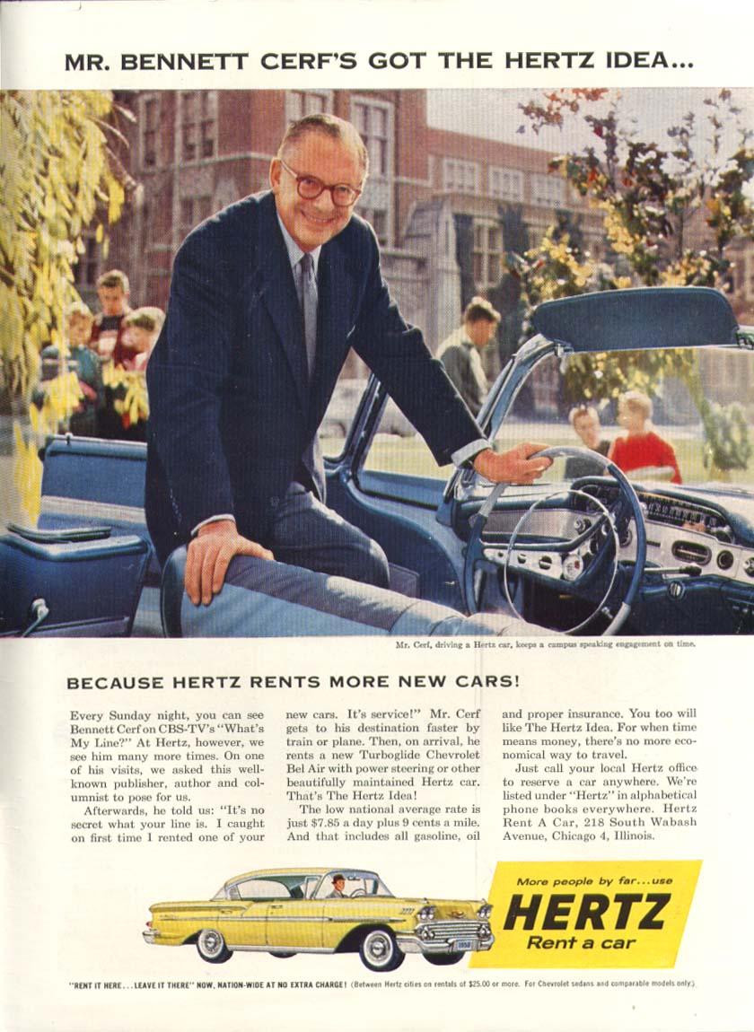 Chevrolet Bel Air Bennett Cerf Hertz rent a car ad 1958